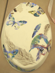 China Painting over decals, finished piece, Kate Missett