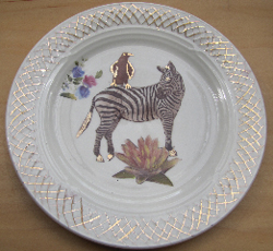 Lustre painted plate with decals, Kate Missett