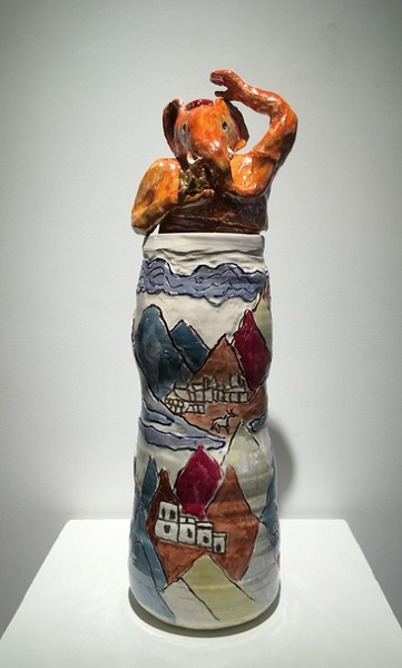 Canopic Jars: Chanting Ganesh with Landscape, Wheel Thrown and hand built porcelain, painted with lustres: Available