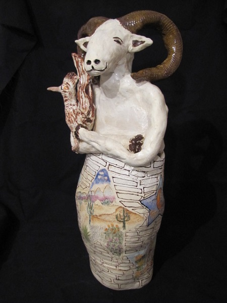 Canopic Jar: Don't Build the Wall: Big Horned Sheep and Road Runner, Hand built stoneware with underglazes: Available