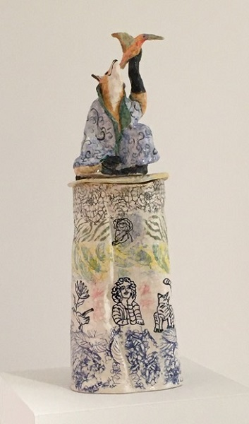 Canopic Jar: Earth Magic: Hand built Porcelain with transfers and slip trailing: Available