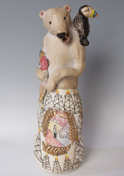 Canopic Jar: Global Warming: Wheel Thrown and Hand built porcelain, salt fired to Cone 10, lustre fired to 018: Collection of the Artist