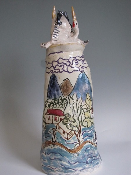 Canopic Jar: Red Crowned Cranes, Hand built porcelain, oxidation fired, painted with lustres: Available